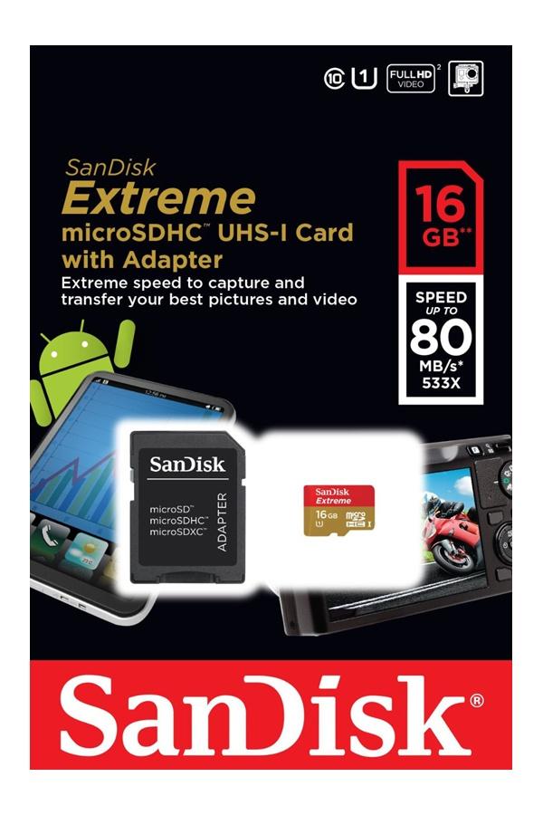 SanDisk Extreme microSDHC UHS-I 16 GB 80MB/s
