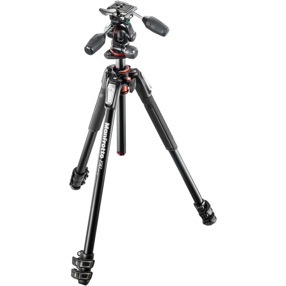 Manfrotto MK190XPRO3-3W Aluminum Tripod with 3-Way Pan/Tilt Hea