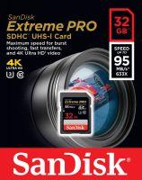 SanDisk SDHC 32GB ExtremePRO®  95MB/s UHS-I  633X 4K U3 (SDSDXXG-032G)