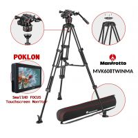 Manfrotto MVK608TWINMA + Small HD FOCUS monitor (NITROTECH 608 fluid video head and the MVTTWINMA aluminium twin leg)